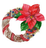 Watercolor Christmas wreath frame isolated on the white background Royalty Free Stock Photos