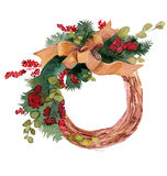 Watercolor Christmas wreath frame isolated on the white background Royalty Free Stock Images