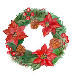 Watercolor Christmas wreath frame isolated on the white background Stock Photo