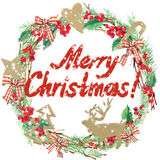 Watercolor Christmas wreath frame. Wish Merry Christmas text. Stock Image