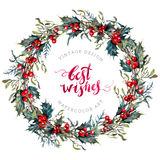 Watercolor Christmas Wreath of Holly and Mistletoe. Watercolor Christmas Wreath Made of Holly Berries and Green Leaves, Mistletoe and Cypress Branches. New Year Stock Photography