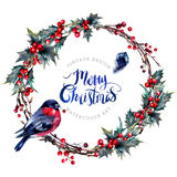 Watercolor Christmas Wreath Made of Holly Branches. Watercolor Christmas Wreath Made of Dry Twigs, Red Holly Berries and Green Leaves with a Male Bullfinch Stock Photos