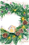 Watercolor christmas wreath Royalty Free Stock Photo