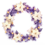 Watercolor Christmas Wreath Stock Images