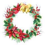 Watercolor Christmas wreath Stock Photography
