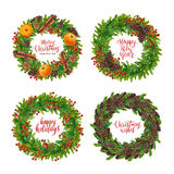 Watercolor Christmas wreath set with xmas text. Watercolor Christmas wreath set with christmas text isolated on white background, hand painted watercolour Happy Royalty Free Stock Images