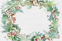 Watercolor christmas wreath with space for text. Christmas holidays watercolor winter plants, leaves, flowers and berries wreath with space for text in center stock illustration