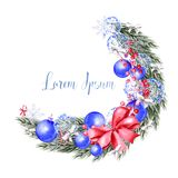 Watercolor Christmas wreath with toys, bow, berries and pine. Illustration for greeting cards and invitations stock photo