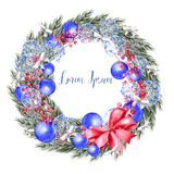 Watercolor Christmas wreath with toys, bow, berries and pine. stock illustration