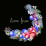 Watercolor Christmas wreath with toys, bow, berries and pine. Illustration for greeting cards and invitations stock photography