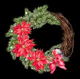 Watercolor Christmas wreath with toys, bow and pine. stock illustration