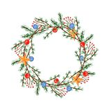 Watercolor Christmas wreath with twigs and balls vector illustration