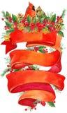 Watercolor Christmas wreath on white background with Ribbon for text.  Christmas background. Ribbon for text greetings. watercolor Royalty Free Stock Photos