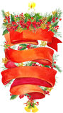 Watercolor Christmas wreath on white background with Ribbon for text.  Christmas background. Ribbon for text greetings. watercolor Stock Photo