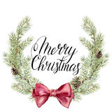 Watercolor christmas wreath witn Merry Christmas lettering. New year tree branch wreath with bow and cones for design Stock Image