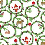 Watercolor.Christmas wreaths of fir branches, red berries, birds, tiger, rabbits and snowman. vector illustration