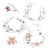Watercolor Christmas Wreaths and Poinsettia. Hand drawn watercolor floral wreaths. Great for creating wedding and greeting cards and more vector illustration