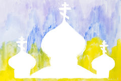 Watercolor church or temple silhouette Royalty Free Stock Images