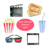 Watercolor cinema objects. Set of vector watercolor sketchy cinema attributes Stock Photo
