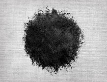 Watercolor circle, black drop on linen texture Royalty Free Stock Photos