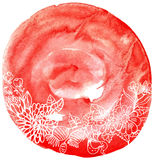 Watercolor circle with floral ornament Stock Photo