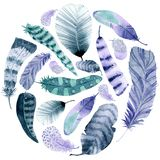 Watercolor circle frame. Colorful feathers on white background stock illustration