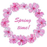 Watercolor circle frame Spring time stock illustration