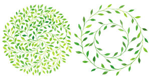 Watercolor circle laurel leaves emblem, wreath of leaves set. Royalty Free Stock Photo