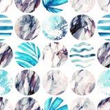 Watercolor circle seamless pattern. Stock Image