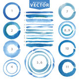 Watercolor circle stain,line brushes.Cyan,blue.Summer Stock Photo