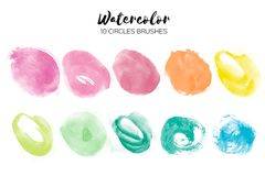 Watercolor circle texture. Abstract hand paint textures on white . Set of 10 watercolor circle elements Stock Photography