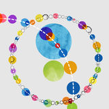 Watercolor circles. Beautiful circles variety of colors tow bigger circles in the center are watercolor effect Royalty Free Stock Image