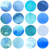 Watercolor circles collection  blue colors. Royalty Free Stock Photos
