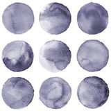 Watercolor circles collection gray colors. Stains set isolated on white background. Design elements Stock Photos