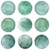 Watercolor circles collection gray colors. Stains set isolated on white background. Design elements Royalty Free Stock Photo