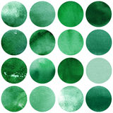 Watercolor circles collection  in green colors. Watercolor stains set isolated on white background. Watercolour palette. Seamless retro geometric pattern Stock Photography