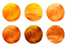 Watercolor circles collection orange and brown colors. Stains set isolated on white background. Design elements Royalty Free Stock Photos