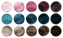 Watercolor circles collection pink, blue and brown colors. Stock Photos