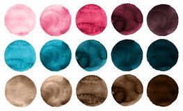 Watercolor circles collection pink, blue and brown colors. Royalty Free Stock Photography