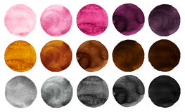 Watercolor circles collection pink, gray and brown colors. Watercolor stains set isolated on white background. Design elements vector illustration