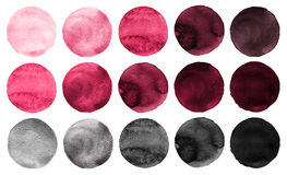 Watercolor circles collection pink, gray colors. Watercolor stains set isolated on white background. Design elements royalty free illustration