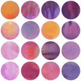 Watercolor circles collection  in purple and lilac colors. Royalty Free Stock Images