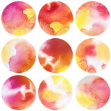 Watercolor circles collection  in red and yellow colors. Watercolor stains set isolated on white background. Watercolour palette. Seamless retro geometric Royalty Free Stock Photos