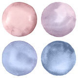 Watercolor circles collection. Watercolor stains set isolated on white background. Watercolour palette Royalty Free Stock Image