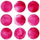 Watercolor circles collection vinous and pink colors. Stains set isolated on white background. Design elements Stock Photo