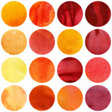 Watercolor circles collection in yellow and red colors. Watercolor autumn circles collection in yellow and red colors. Watercolor stains set isolated on white stock photography