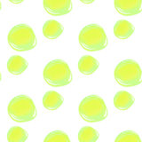 Watercolor circles seamless pattern. Colorful round shapes abstract background. Green bubble on white. Polka dots color. Stock Photography