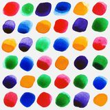 Watercolor circles seamless pattern with red, yellow, green and ultramarine colors. Stock Photos