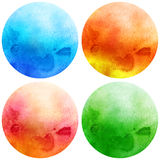 Watercolor circles set. Watercolor circles collection. Watercolor stains set isolated on white background. Watercolour palette Stock Images