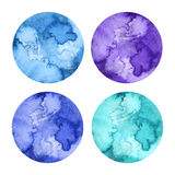 Watercolor circles. Set on white background hand painted Stock Photos